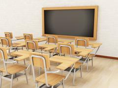 3d classroom with chairs and chalkboard. Stock Illustration