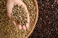 Close up of coffee beans on hand Stock Photos