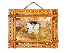 Bamboo photo frame with abstract composition of butterflies, bir Stock Photos