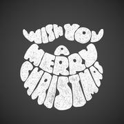 Merry Christmas. Chalk lettering with Santa Claus beard Stock Illustration
