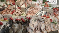 Panning shot of a variety of seafood at athens central market Stock Footage