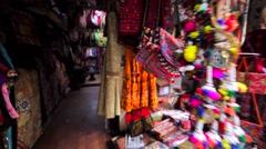 Many textile colourful things at Kathmandu street market. Nepal. Stock Footage