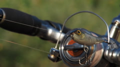 Fishing on the river on wobbler Stock Footage
