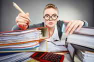 Crazy woman in office. Stock Photos