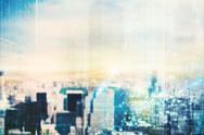 Futuristic city vision Stock Photos