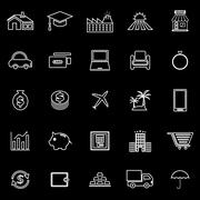 Loan line icons on black background Stock Illustration