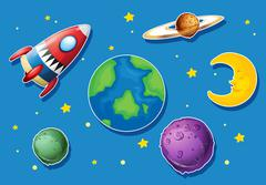 Rocket and many planets in space Stock Illustration