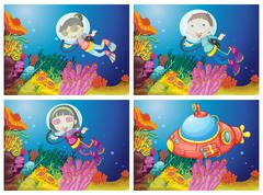Kids scuba diving under the sea Piirros