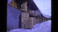 1963: snow people walk busy tourism dressed heavy store warehouse MAINE Stock Footage