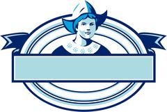 Dutch Lady Wearing Bonnet Oval Ribbon Retro Stock Illustration