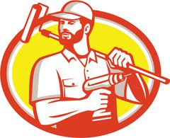 Handyman Cordless Drill Paintroller Oval Retro Stock Illustration