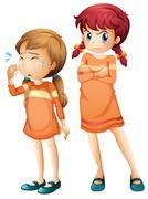 Girls crying and upset Stock Illustration