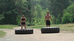 Tractor Tire Workout Stock Footage