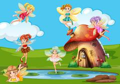 Many fairies flying over the pond Stock Illustration