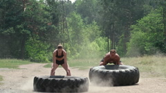 Full-Body Tire Workout Stock Footage