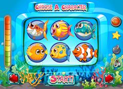 Computer game template with fish as characters Stock Illustration