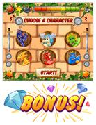 Computer game template with dragons as game characters Stock Illustration