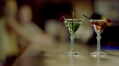 Two martini glasses Stock Footage