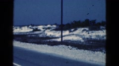 1950: side of the road lined with ice and snow FLORIDA Stock Footage