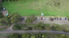Forward flight looking straight down at row of trees and parked cars Stock Footage