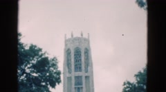 1950: tourism area people walk down stairs outdoor FLORIDA Stock Footage
