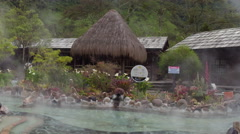 Hot springs tub in the mountains of ecuador Stock Footage