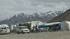 Tourists resting at tent restaurant ,Pangong,Ladakh,India Stock Footage