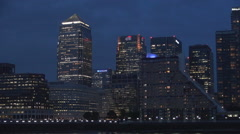 Nightfall View Canary Wharf Skyscrapers Silhouette with Curtain Walls Lighted. Stock Footage