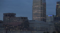 Nightfall Canary Wharf Skyscrapers Facade and Curtain Walls with Office Lights. Stock Footage