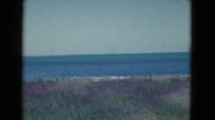 1950: view of a blue sea and of the close beach with a sunny but windy weather Stock Footage