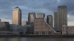 Canary Wharf London Financial Center European Offices Skyscrapers Silhouette. Stock Footage