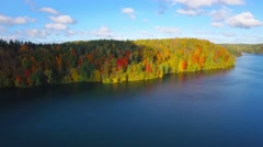 Autumn nature aerial landscape forest lake and brightly colored trees. Stock Footage