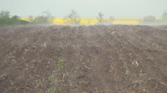 Country Farm Ploughed Land Cover with Fog in a Cold Morning Day. Stock Footage