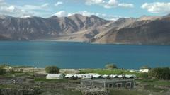 Tourist tent camp at lake,Pangong,Ladakh,India Stock Footage