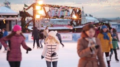 People skating on Gum ice rink in Moscow, Russia on Red Square Stock Footage