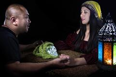 Seance with Psychic and Client Stock Photos