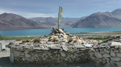 Round stone hut in mountains,Pangong,Ladakh,India Stock Footage