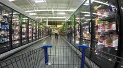 Woman shopping frozen food department market POV 4K Stock Footage