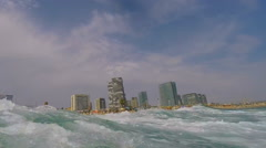 Wave Hits Hard In The Sea Stock Footage