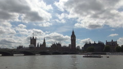 Westminster palace and river thames visitor attractions and historic landmarks.  Stock Footage