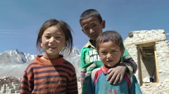 Tibetan kids looking at camera,Pangong,Ladakh,India Stock Footage