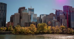 Hyperlapse of downtown Calgary and Bow River on a sunny day. Stock Footage