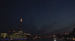 Beautiful Panorama City London Downtown Lights River Thames in Night Darkness. Stock Footage