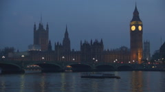 Twilight Panorama with Palace of Westminster Big Ben and Thames River Bridge. Stock Footage