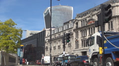 London City Landscape with Cars Traffic in Downtown Area in a Summer Day. Stock Footage