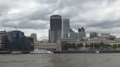 London City Downtown View with Modern Buildings and And Thames River Ship Dock. Stock Footage