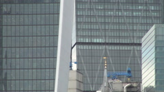 London City Close View with Skyscraper Facade Financial Corporate Headquarters.  Stock Footage