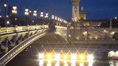 Time Lapse with Lighted tourists Ship Crossing Under Seine Alexander Bridge. Stock Footage