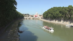 Tiber and Green Vegetation in Rome Downtown Tourist Ship Crossing the River. Stock Footage