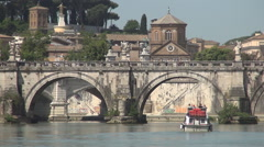 Boat Sailing Under Ancient Stone Bridge on Tiber River Rome Historical City View Stock Footage